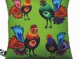 Decorated pillow folk cocks