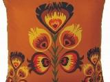 Poduszka ozdobna folk złoty kwiat