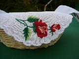 Serwetka haftowana do koszyczka - róża łowicka (zcz-1)