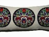 Poduszka ozdobna folk  - łowickie koniki