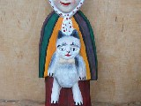 Folk sculpture. The rural woman, a cat (25 cm)
