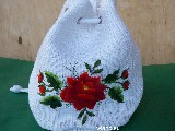 Embroidered handbag - Lowicz red rose
