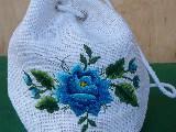 Torebka haftowana - łowicka  róża niebieska (zcz)