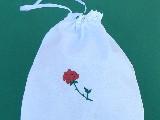 Woreczek haftowany, dekoracyjny z różą (gś-8)