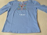 Cotton jersey folk blue T-shirt L (5)