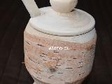 Pojemnik drewniany - Cukiernica na nóżce z łyżeczką (z korą)
