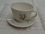 Pottery - coffee cup with saucer