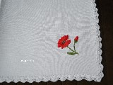 Embroidered tablemat, motif poppy 40x40 cm (gs-1)