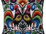 Poduszka dekoracyjna folk dwa koguty łowickie 50x50 (031)