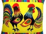 Poduszka dekoracyjna folk koguty i pasiak 40x40 (035)