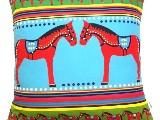 Poduszka dekoracyjna folk, ludowe koniki 40x40 (035)