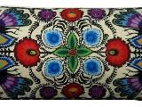 Poduszka ozdobna folk pawie i kwiaty �owickie 30x65 (05)