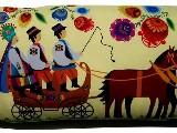 Poduszka ozdobna folk łowicki zaprzęg 30x65 (06)