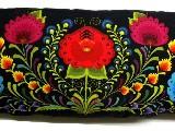 Poduszka ozdobna folk łowickie kwiaty i pasiaki 30x65 (10)
