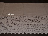 Curtain, linen, with lace, beige 117x70 (gs-1)