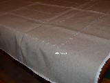 Linen tablecloth, light gray, hand embroidered 170x136 (gs-1)