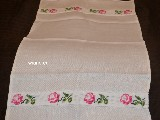 Ściereczka lniana, haftowana, motyw róży 70x42 cm (bw-1)