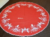 Hand embroidered tablecloth, red, dia 68 cm (kz-3)