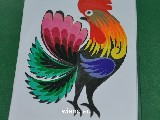 Cut out Lowicz miniature - Lowicz cockerel 6x8 cm (ww-19)