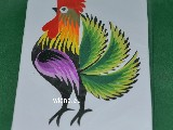 Cut out Lowicz miniature - Lowicz cockerel 6x8 cm (ww-23)