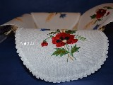 Hand embroidered tablemat to the basket, theme wild flowers  42x42 (kz-1)
