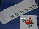 Embroidered cotton tablemats (set of 6+1). Lowicz (zcz-6)