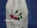 Linen bag for a bottle of tincture of cherries, 35x16 cm