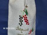 Woreczek lniany na butelkę Nalewka z porzeczki, ręcznie haftowany 35x16 cm