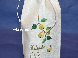 Linen bag for a bottle.  Tincture of quince, 35x16 cm