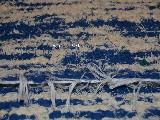 Hand -woven linen carpet, blue-ecru 65x120