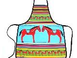 Fartuszek kuchenny z nadrukiem ludowym - koniki, zabawka ludowa (3)