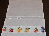 Ściereczka lniana ozdobna, haftowana. Haft owoce. 80x37 cm (bw-2)