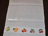 Ściereczka lniana ozdobna, haftowana. Haft owoce. 70x45 cm (bw-4)