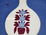 Wycinanka ludowa, kurpiowska - Kwiaty na drewnianej desce kuchennej12x20 (ww-3)
