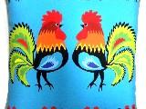 Poduszka dekoracyjna folk dwa koguty 20x20 (w-1))