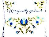 Poduszka dekoracyjna folk wzór kaszubski - Witaj miły gościu - 50x50 (w-7)