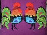 Poduszka dekoracyjna folk dwa koguty 50x50 (w-15)