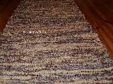 Chodnik bawe�niany\pled r�cznie tkany ciemny i z�ocisty br�z - ecru 65x150
