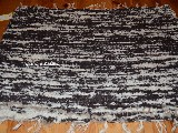 Hand -woven cotton carpet brown-ecru 65x50