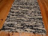 Chodnik bawe�niany r�cznie tkany czarno-ecru 50x100 cm
