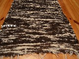 Hand -woven cotton carpet black-ecru 50x100