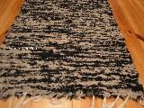 Chodnik bawe�niany r�cznie tkany czarno-be�owy 50x100 cm