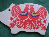 Cutout Kurpian - Birds - colour red -  glued on a wooden kitchen board 30x18 (ww-19)