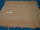 Hand -woven cotton carpet, ecru the edges - dark ecru 65x50