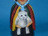 Folk sculpture - The rural woman, a cat (22 cm)