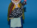 Folk sculpture - The rural woman with guinea hen(23 cm)