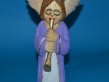 Sculpture, wooden folk - Angel playing on the corner of pastoral, H 23 cm.