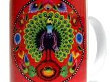 Kubek z nadrukiem ludowym - wycinanka paw łowicki (czerwony)