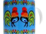 Kubek z motywem ludowym, koguty łowickie (niebieski)