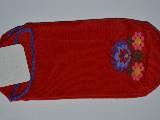 Stopki damskie ze wzorem ludowym, z łowickimi kwiatami, czerwony, rozm. 38-40
